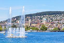 Zürichsee - Springbrunnen mit Ansicht der Stadt Zürich