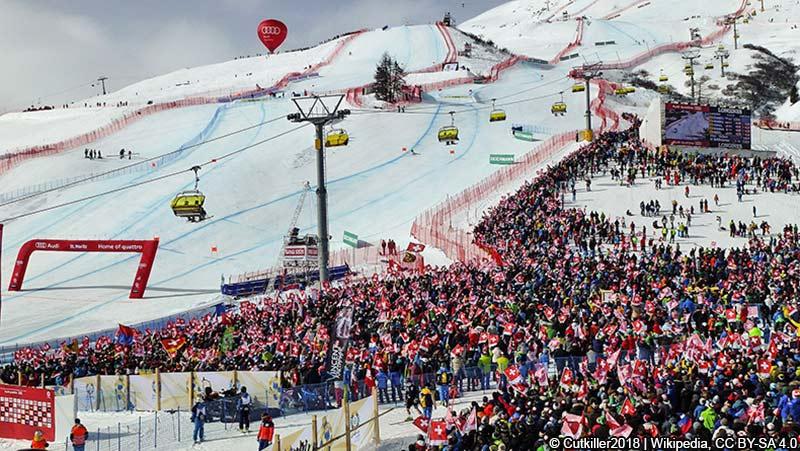 Zielhang der Alpinen Skiweltmeisterschaft 2017 in St. Moritz