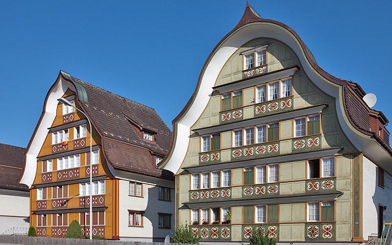 Typische Häuser im Appenzell