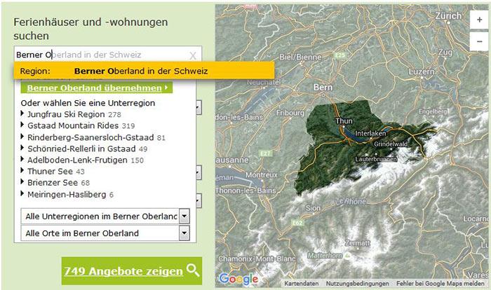Ferienhäuser und Ferienwohnungen im Berner Oberland - Urlaubsregionen und Orte