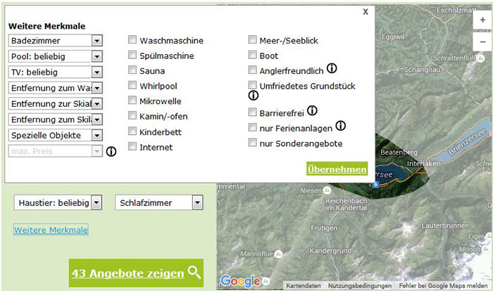 Ferienhäuser und Ferienwohnungen im Berner Oberland - weitere Merkmale
