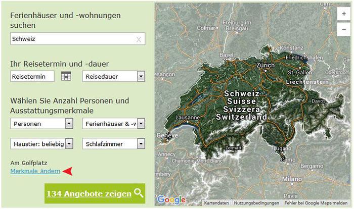 Ferienhäuser für Golfurlaub in der Schweiz - Übersicht Merkmale