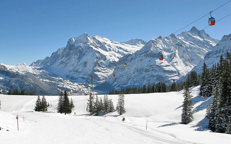 Skipiste in der Jungfrau Ski Region