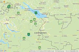 Ostschweiz Karte zur Routenplanung
