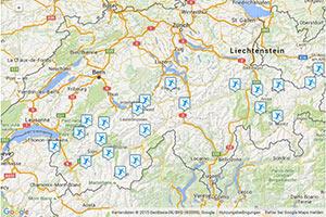 Skigebiete der Schweiz Karte