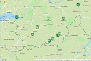 Wallis Karte zur Routenplanung